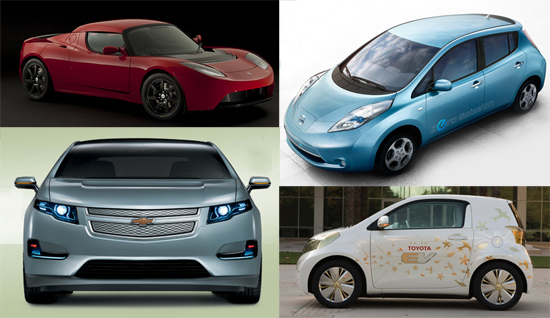 The Tesla, Nissan Leaf, Toyota EV and Chevy Volt